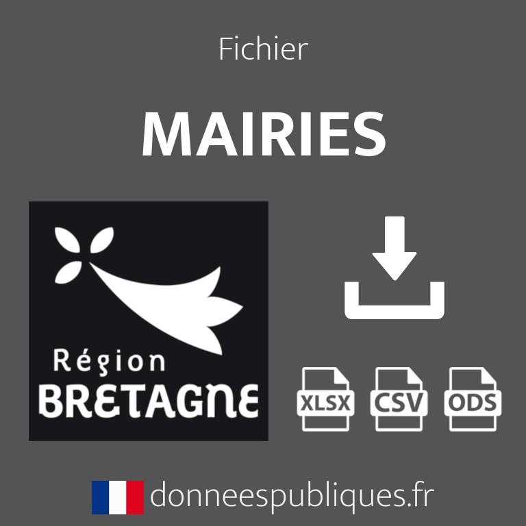 Fichier emails des mairies de la région Bretagne