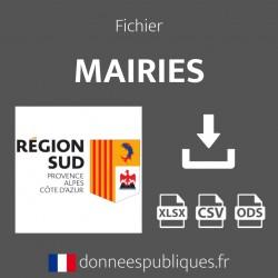 Fichier emails des mairies de la région Provence-Alpes-Côte d'Azur