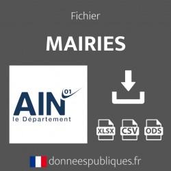 Fichier emails des mairies du département de l'Ain (01)