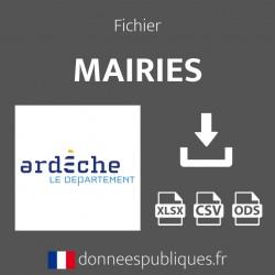 Fichier emails des mairies du département de l'Ardèche (07)