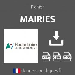 Fichier emails des mairies du département de la Haute-Loire (43)