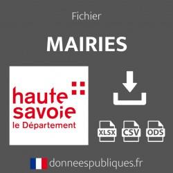 Emails des mairies du département de la Haute-Savoie (74)