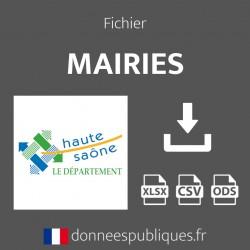 Fichier emails des mairies du département de la Haute-Saône (70)
